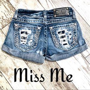 Miss me Distressed embellished rhinestone shorts